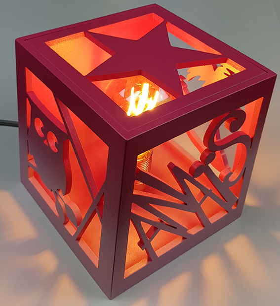 Lampe De Chevet Cube Prenom Personnalise Motif Et Couleur Au Choix